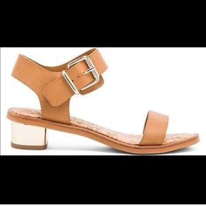 """Sam Edelman """"trixie"""" tan gold block heel sandal 8"""